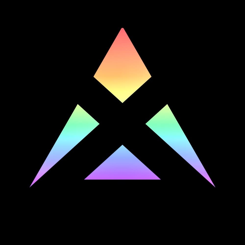 Vallax logo - Graphics - My primary logo. Uses a pale yet vibrant rainbow gradient juxtaposed onto a crystalline structure containing every letter of Vallax.
