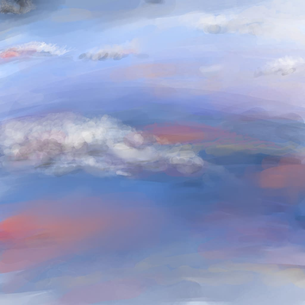 Sky over ocean - Artwork - Abstract digital artwork of a beautiful cloudy sky over an ocean lit in vivid colours